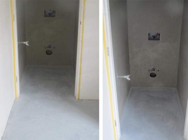 Ventiaans woonbeton op de muur en vloer in realisatie #woonbeton #berkersvloeren #gietvloeren #betonlook